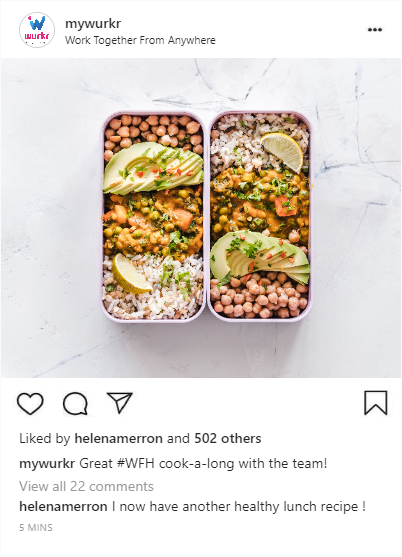 An instagram post of a remote office team cook-a-long for healthy lunch recipe inspiration for when you are working from home