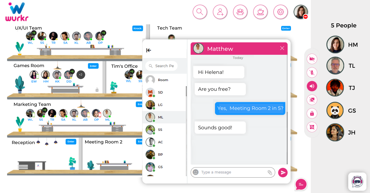 The Wurkr chat feature which enables remote workers to catch up and check in without the intrusion of micromanagement