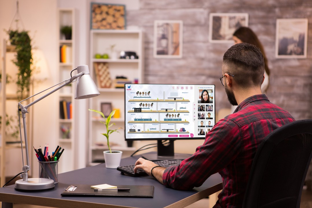 A remote worker working from home as it is the new normal with Wurkr virtual office platform.