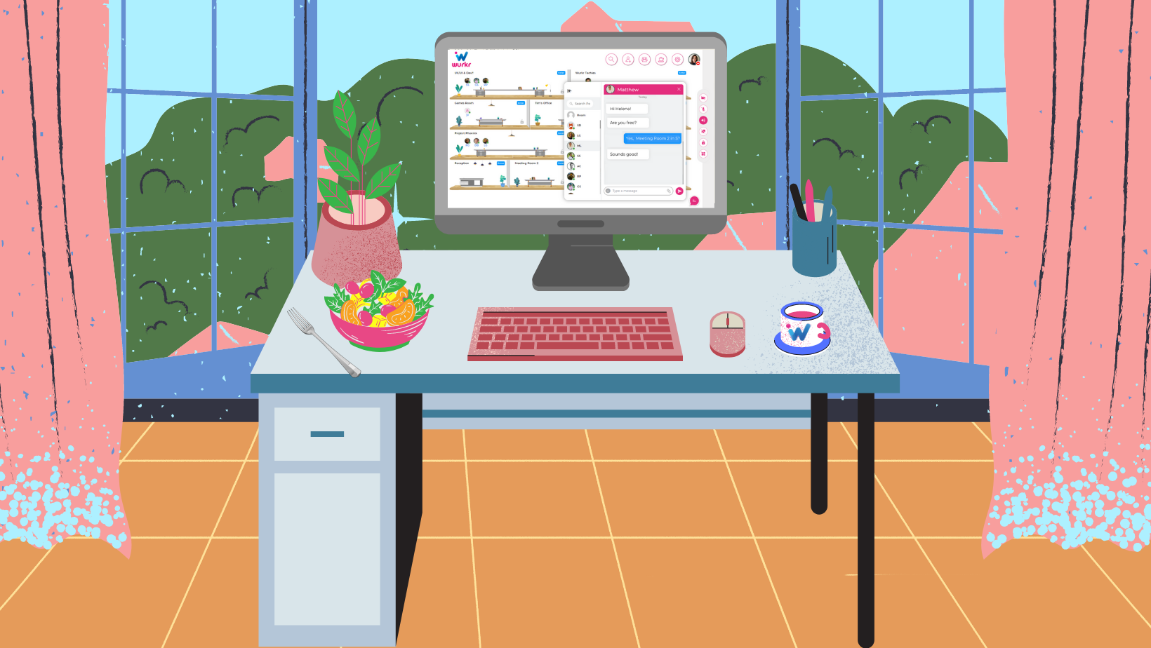 A remote worker's WFH home office set up that reduces carbon emissions and helps to solve the carbon crisis by tackling waste and planting trees by using a virtual office like Wurkr and supporting the planting of trees with their Partner One Tree Planted.